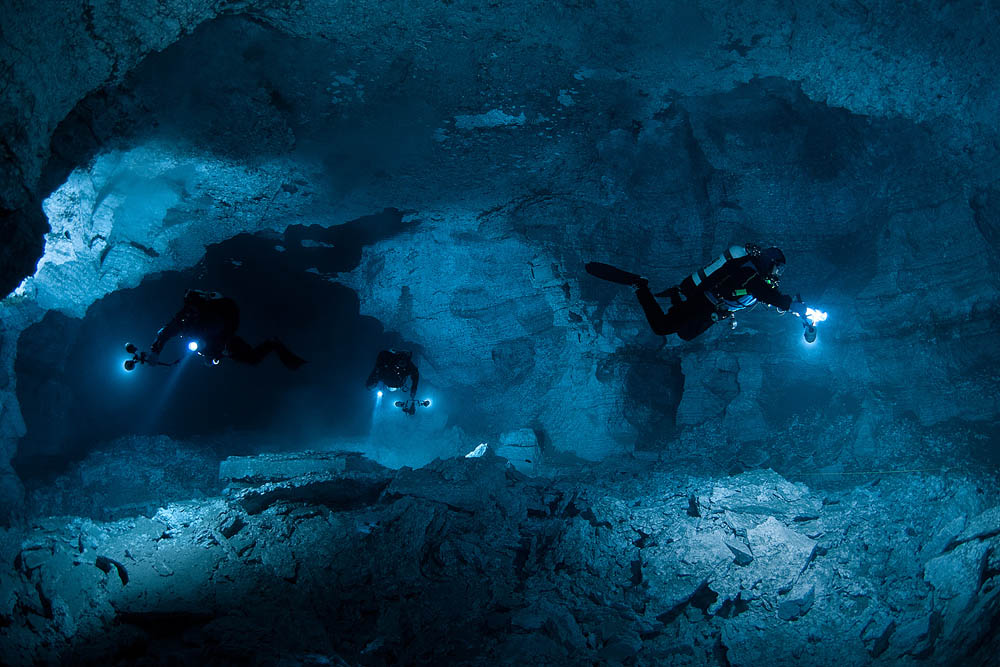 Diving in Orda Ordinskaya cave Ural Russia